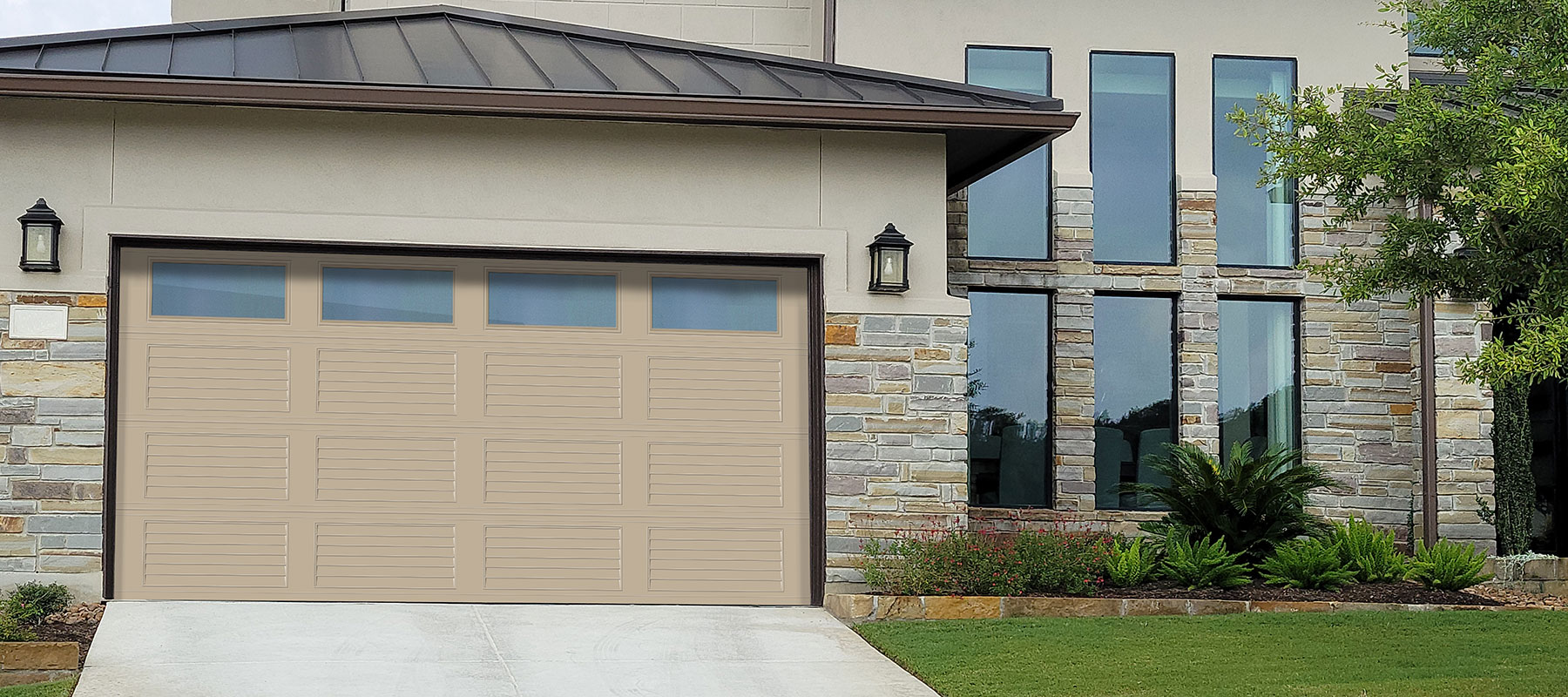 3660 Louvered Panel Garage Door